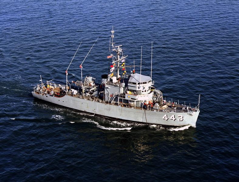 USS Fidelity (MSO-443)<br /> <br /> Date: February 15 1977<br /> Location: Hampton Roads VA<br /> Source: Nobe Smith - Atlantic Fleet Sales