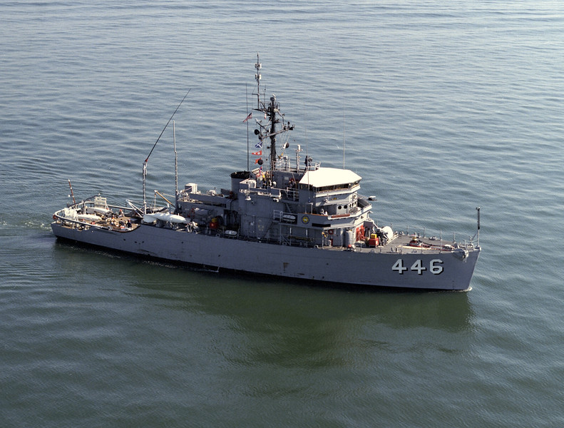USS Fortify (MSO-446)<br /> <br /> Date: May 4 1989<br /> Location: Hampton Roads VA<br /> Source: Nobe Smith - Atlantic Fleet Sales