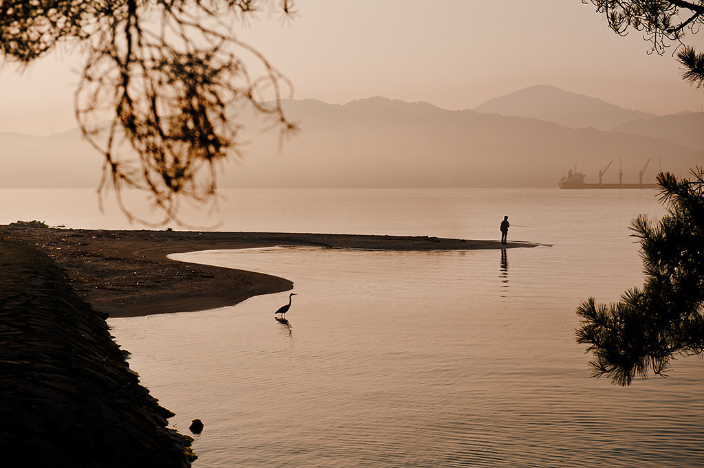 japan., fishing at dawn, brown tones, waterscape