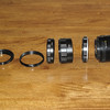 There are 7, 14, and 28mm extensions depending on how much magnification. Unfortunately, the DOF is very small