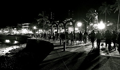 "Puerto Vallarta Photography, Magical Seconds Series by  International Award Winning Photographer Andres Barria ""Malecon at Night"""