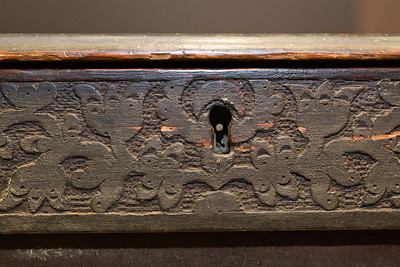 Hand carved detail from the front key hole of the Drake Chest photo Justin Gillette Weekes