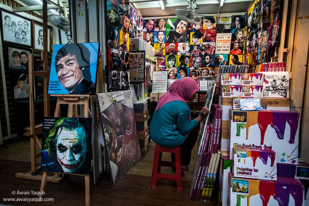 Artist in studio in centeral market Kuala Lumpur