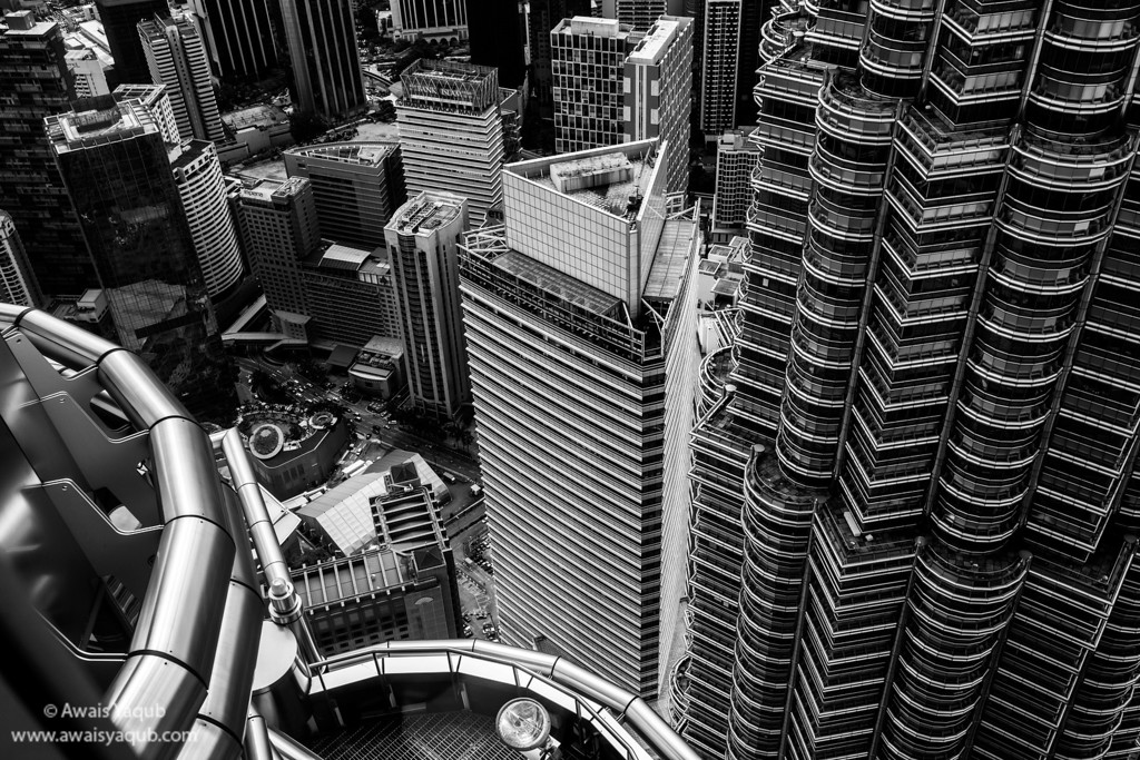 Looking down from 86th floor of Patronas tower, Kuala Lumpur
