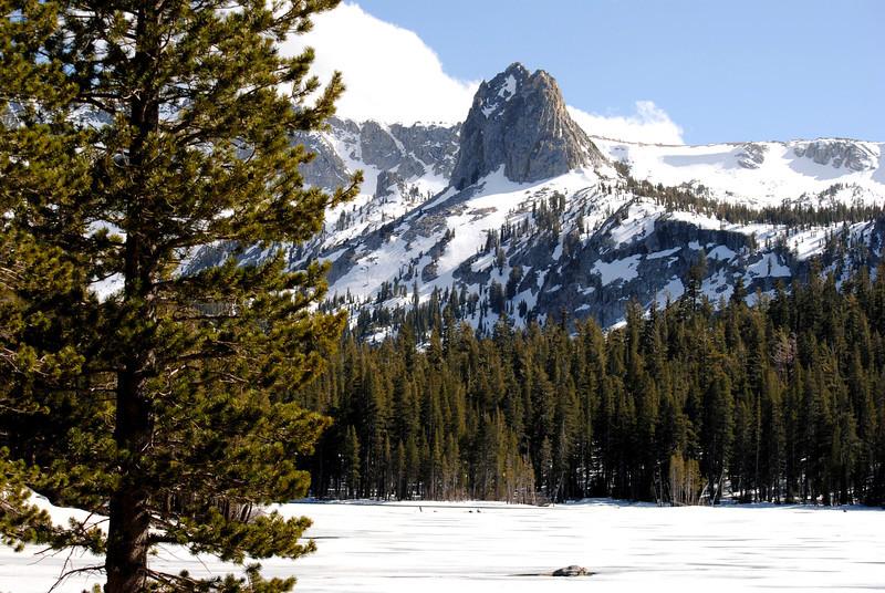 Frozen Lake Mamie at Mammoth Lakes CA