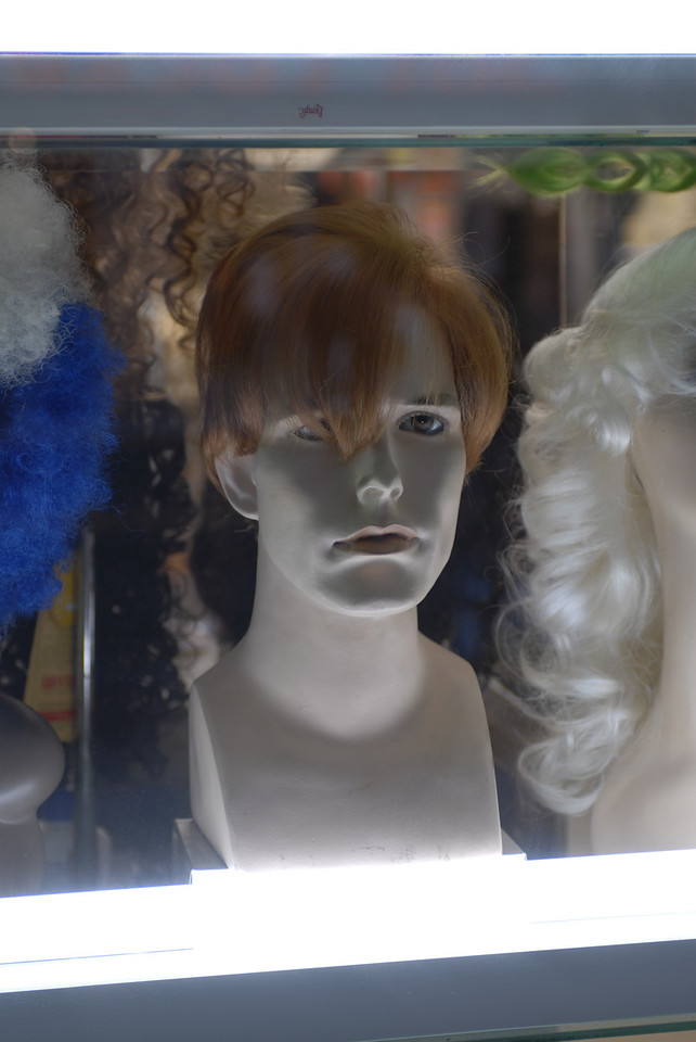 Flourescent lit wig display Bare Bulbs See EXIF DATA for details