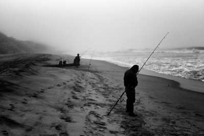 Surf Fisherman -fishing for striped bass.