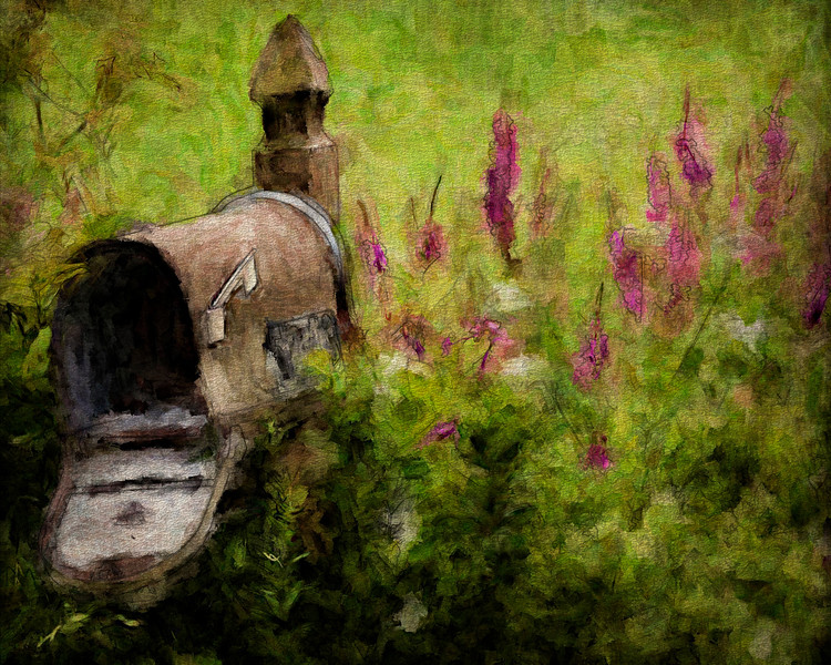 Nancy M Germer, THE MAILBOX, Digitally Painted Photo on Canvas, 11 x 14, $135, 513-317-1646