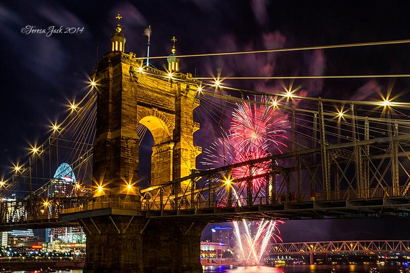 Teresa Jack, Fireworks over the Bridge, photography, 16x20 Canvas, $155.00, teresajack@hotmail.com, 513-218-0754