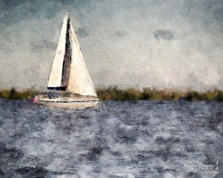 Nancy M Germer, SAILBOAT, Digitally Painted Photo on Canvas, 11 x 14,  $135, 513-317-1646