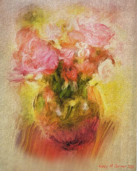 Nancy M Germer, VASE OF FLOWERS, Digitally Painted Photo on Canvas,11 x 14,  $195, 513-317-1646
