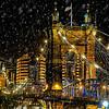 L Flinner, Roebling Bridge in the Snow