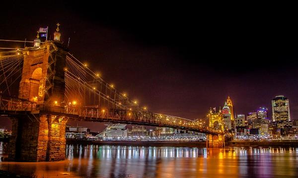 Ina Kratzsch, Roebling Bridge at Night, color print on canvas, 16 X 20, $150, ina1701@yahoo.com