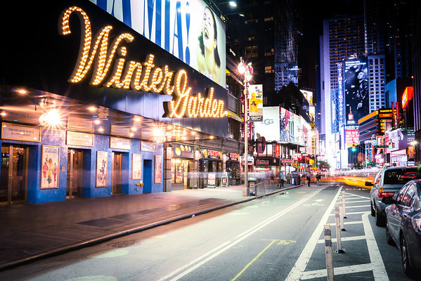 Winter Garden Theatre and Times Square - Night - New York City