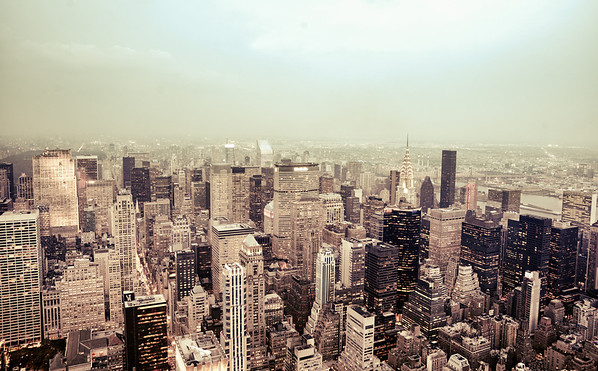 New York City - Skyline and Rooftops on a Hazy Evening