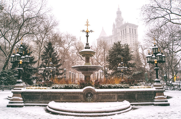New York Winter - City Hall Fountain in the Snow