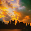 New York City Skyline at Sunset on a Stormy Evening
