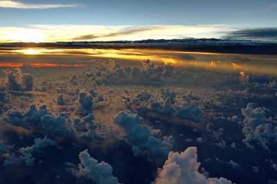 Sunset over the Indian Ocean on a flight from Mauritius to Dubai. Airbus A380. Fly Emirates!