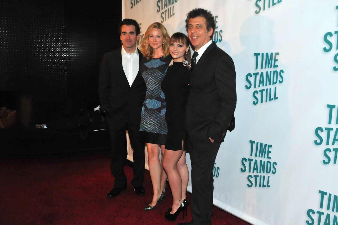 """10/07/10 –Stars of """"Time Stands Still"""" Brian D'Arcy, Laura Linney, Christina Ricci, and Eric Bogosian attend their after party at 230 Fifth following opening night of the Broadway play."""