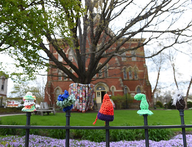 KRISTIN BAUER | CHRONICLE On Wednesday, May 4 quilt and yarn creations appeared outside of the Firelands Association for the Visual Arts (FAVA).  The displays will be set up until July 31, 2016 while the Artist as Quiltmaker XVII exhibition is going on.