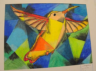 Jessica Laforet, seventh grader at Avon Middle School, oil pastel, Hummingbird.  STEVE MANHEIM/CHRONICLE