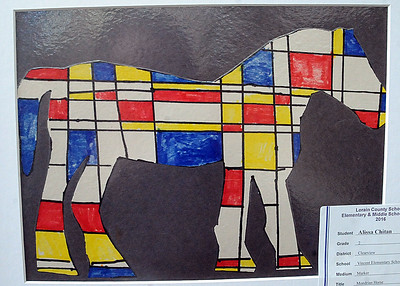 Mondrian Horse, marker, by Sydney Flask, second grader at Vincent Elementary School. STEVE MANHEIM/CHRONICLE