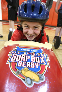 Grace Sherban, 12, is one of the South Amherst Middle School Soapbox Derby drivers who will be competing this year. BRUCE BISHOP/CHRONICLE