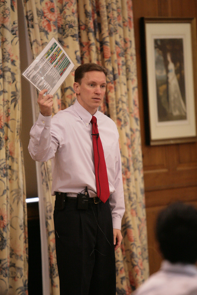 Ronald L. Stiver '96 speaks to Management Fellows on April 15, 2008 in the Union Building Ballroom.  Stiver spoke about his career path leading to his current role as commissioner of the Indiana Bureau of Motor Vehicles.  The speech was a part of the Robert C. McDermond Center Lecture series.  PHOTO BY ALEX TURCO