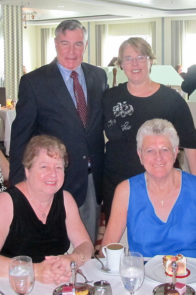Helene and me with two of our table mates, Marg (seated) and Rosemary (standing)