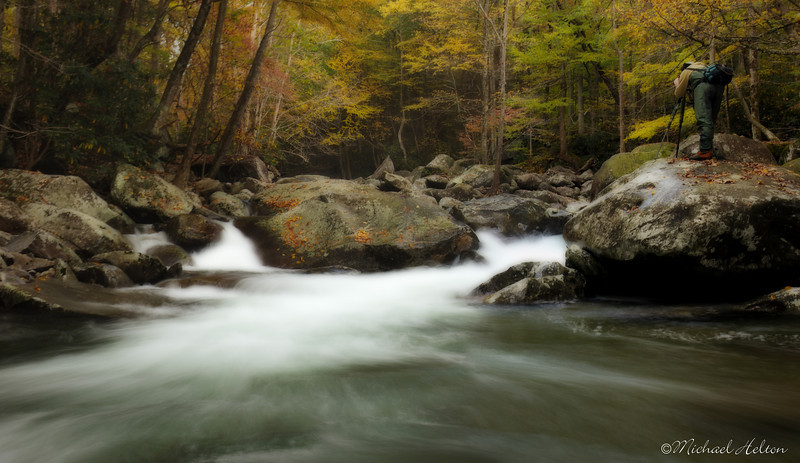Photographing the Greenbrier River.  Great Smoky Mountains National Park.