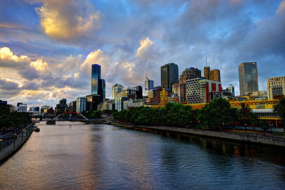 Melbourne. Sunset with Skyline of downtown by the river.