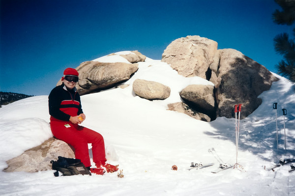 Mid-mountain picnic with dad...good thing no one found the sodas we buried in the snow (January 16, 1991)