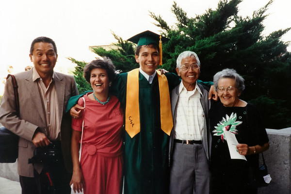 Dad, Mom, me, Ojiichan, and Grandma at South High Baccalaureate (June, 1990)