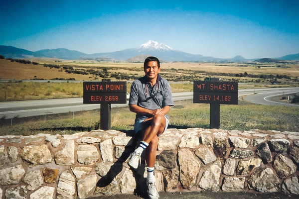 We stop at a Mount Shasta Vista Point off of Intersate 5 while driving back from Vancouver, BC.  Dad and I alternated driving every two hours for 22 hours straight (July 10, 1989)