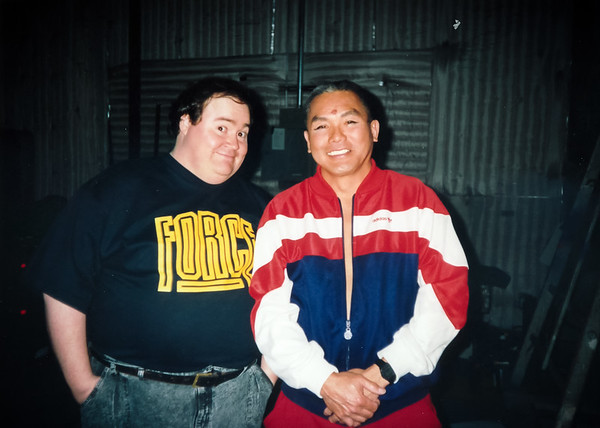 Dave Trim (God) and Dad (Buddha) at South Bay Studios Soundstage #5 (March 14, 1992)