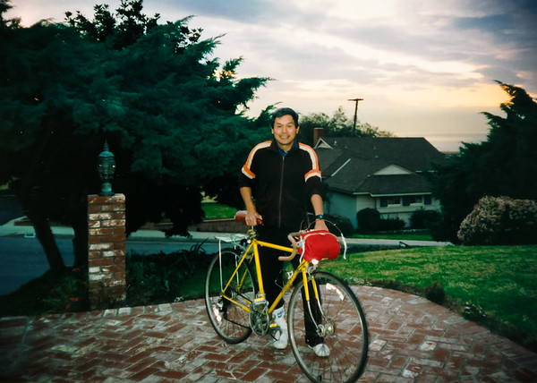 Dad and his bike in front of mom's...one of the first 35mm photos I snapped using my new Canon Sure Shot Ace (January, 1989)