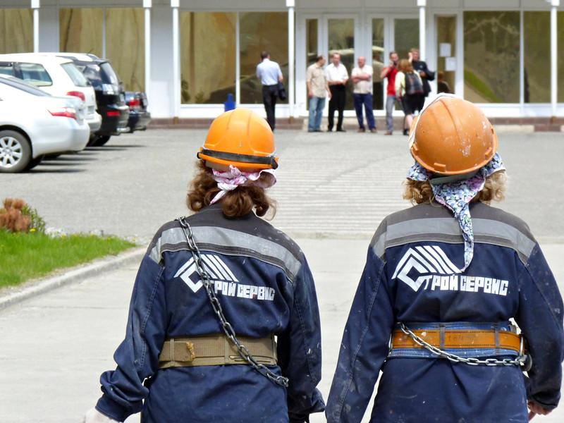 Working girls.<br /> <br /> Heading in to work at the Sayano Shushenskaya hydroelectric power plant. (Khakassia, Russia) (Саяно Шушенская гидроэлектростанция имени П. С. Непороожнего)