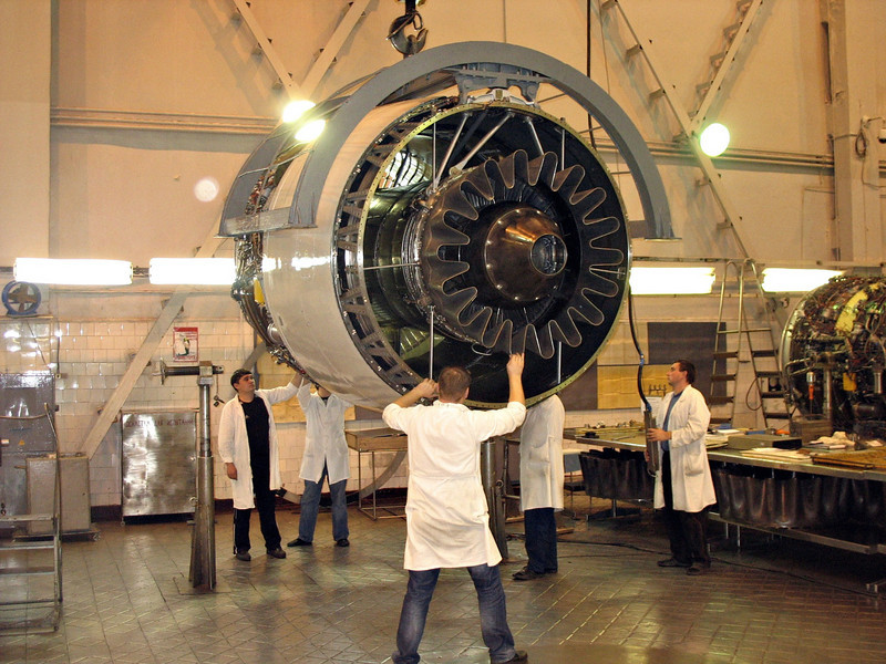 Moving & inspecting an aircraft engine. (Perm Motors Company)