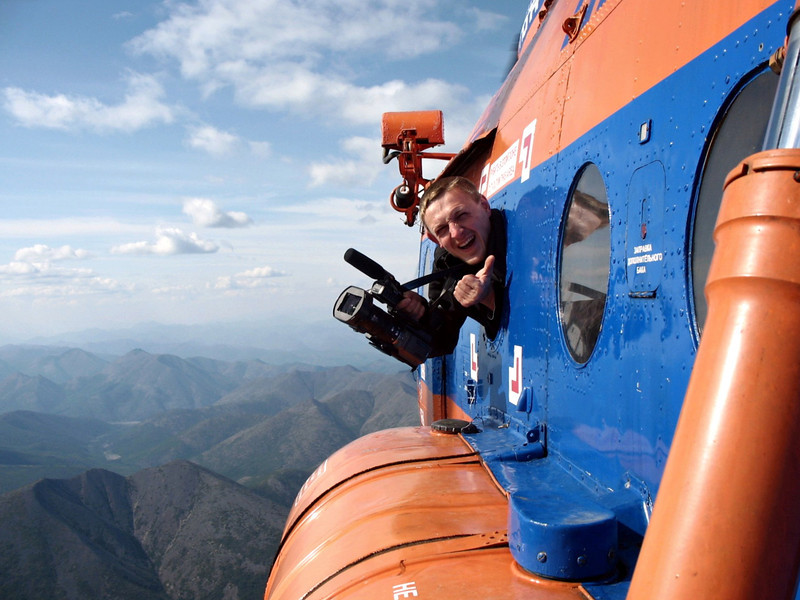 Cameramen have all the fun. RT cameraman, Ilya Turbin, flying over Kolyma, Russia. (Колыма, Магадан область)