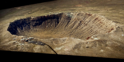 Nobody, North America, USA, Meteor Crater near Winslow, Arizona, Aerial Vew of Crater