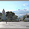 Church and Bandstand; Town Square, San Jose del Cabo, Mexico     <b>Copyright © Florence T. Gray. This image is protected under International Copyright laws and may not be downloaded, reproduced, copied, transmitted or manipulated without written permission.</b>