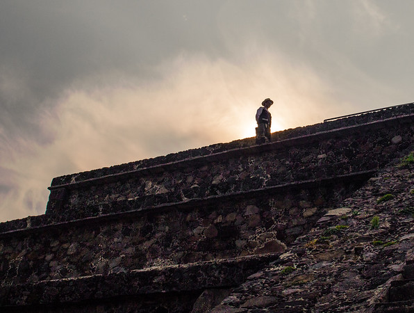 A security guard watches over Teotihuacan