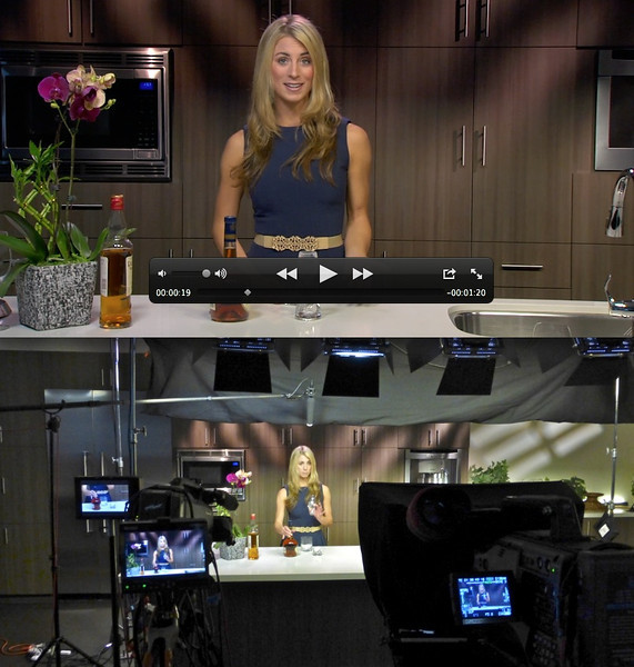 A recent multi-camera shoot (with Tenley Molzahn from the Bachelor) where we turned the kitchen at the corporate offices into the set for our video.