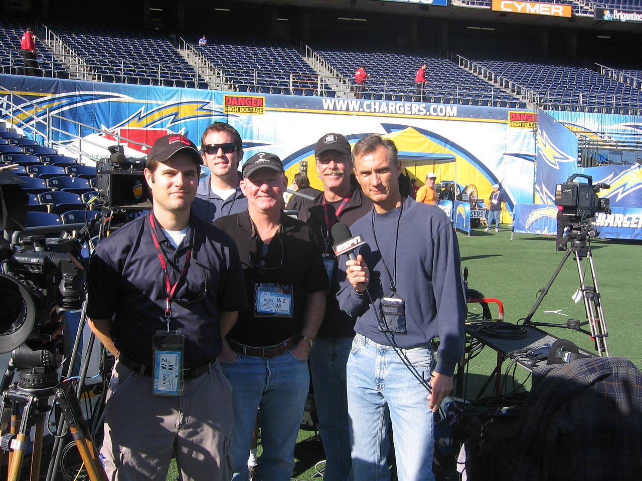 ESPN/Sloan Productions crew for another playoff game at the Q.