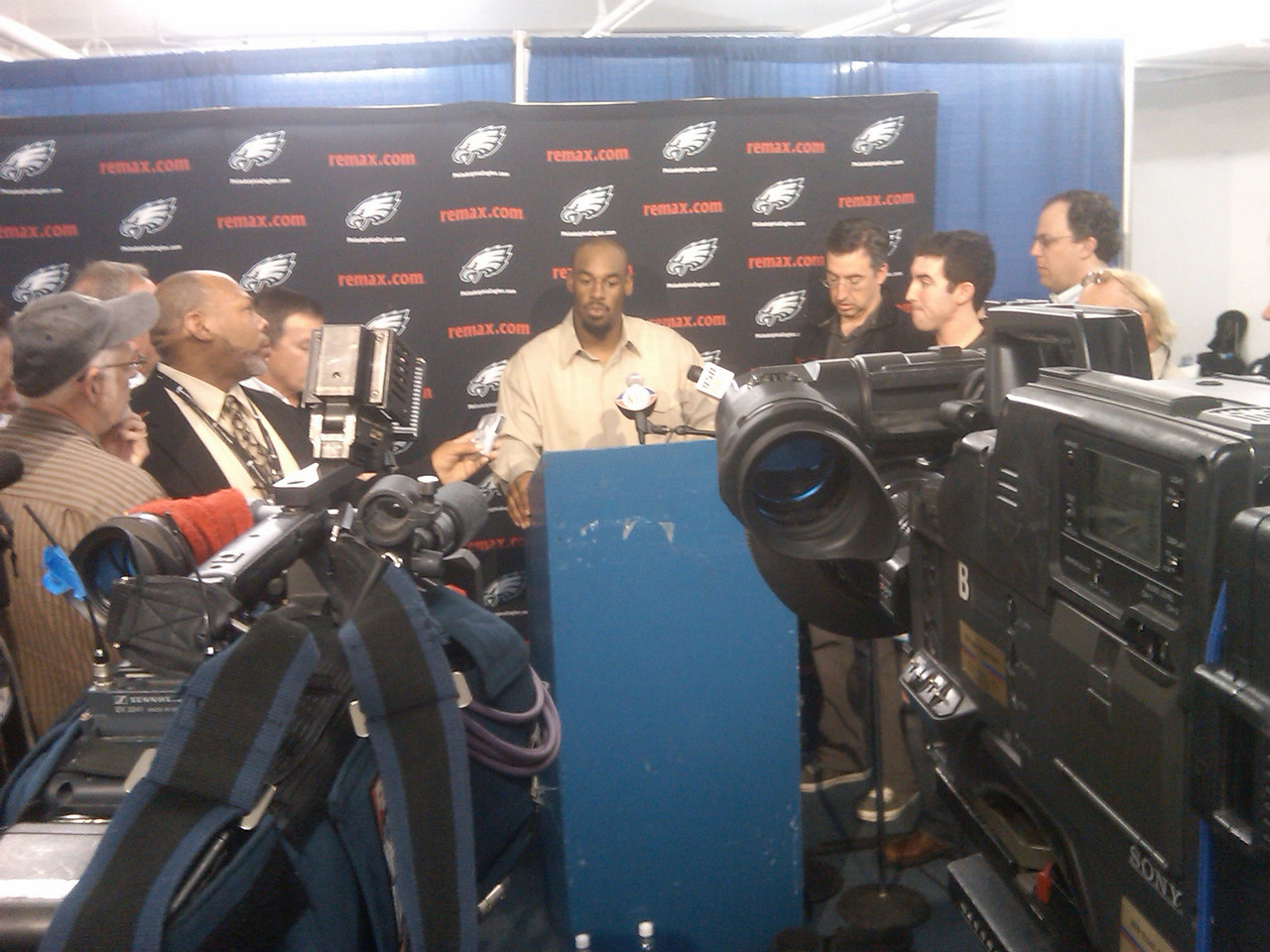A press conference with Donovan McNabb of the Eagles after a loss to the Chargers...