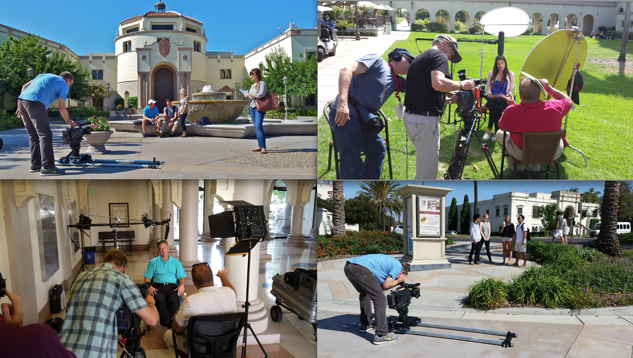 Recently completed a couple more weeks of shooting at the University of San Diego with an Indiana production company. The videos will be posted on the USD website. The DP/cameraman shown in these shots is from Indiana. I was on lighting duty, but also shot some of the segments in the piece:  Here's the sizzle cut: https://www.youtube.com/watch?v=RANaoFgqDbk  Here's the longer form version: https://www.youtube.com/watch?v=kaGLrWrT95Q    Here are a few of the other videos we recently did:    https://www.youtube.com/watch?v=kaGLrWrT95Q  http://www.sandiego.edu/admissions/virtualtour/buildings/ipj/videos.php  http://www.sandiego.edu/admissions/virtualtour/student_life/slp/videos.php  http://www.sandiego.edu/admissions/virtualtour/academic_life/soles/videos.php