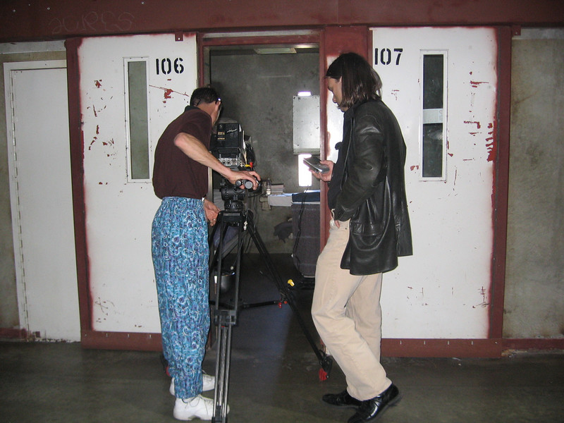 Shooting for an anti-gang video at a California prison...nice pants eh?  They told me to wear something that would distinguish me from the inmates.