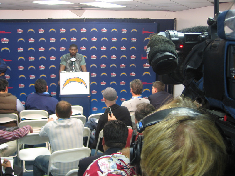 L.T. behind the podium after another disappointing loss in the payoffs...