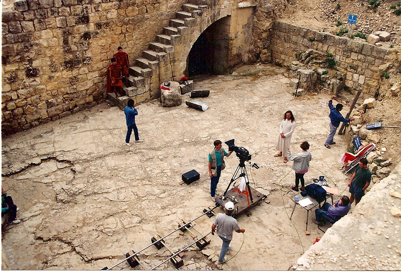 On location in Israel.  When they told me Jesus would be watching over me--I didn't think they meant he would be standing next to me as I cleaned the lens.  In case you didn't notice--Jesus is the one in the robe to the right of camera.