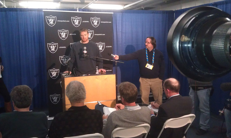 Carson Palmer at the Raiders/Chargers post-game presser for ESPN and Sloan Productions
